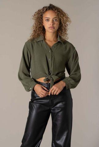 cropped fit blouse met strik sluiting livia blouse