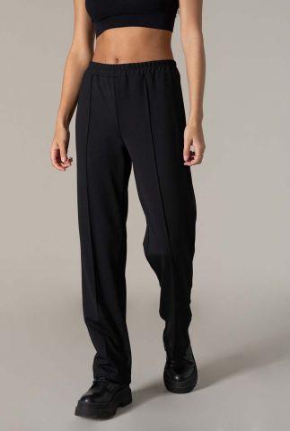 zwarte relaxed fit broek met elastische tailleband moma pants