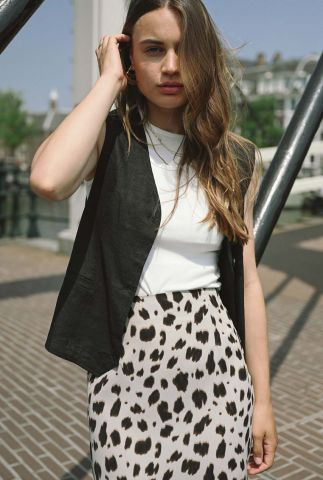 lichtbruine rok met luipaardprint sabine cow print skirt