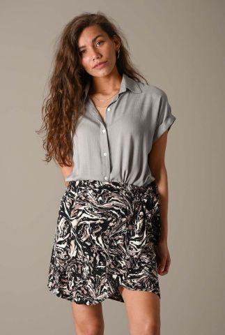 lichtgrijze viscose blouse met ingeweven dessin stone blouse