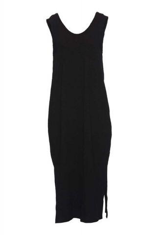 zwarte katoenmix jurk met rechte pasvorm en split detail timmi dress