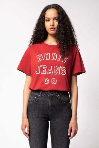 rood t-shirt met logo opdruk tina nudie jeans co 131761