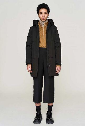 halflange gevoerde a-lijn jas met capuchon  tiril jacket