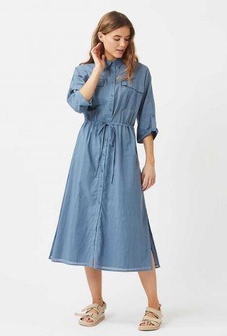 blauwe doorknoop jurk met tunnelkoord todis 7486