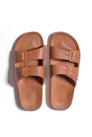 chocolade bruine vegan slippers met dubbele gesp basic toffee