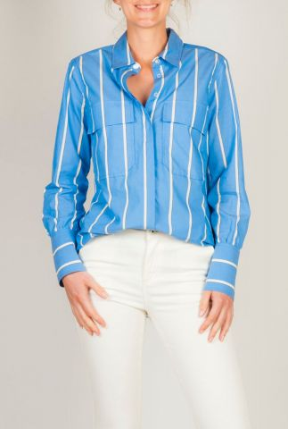 blauwe blouse met witte strepen tona ls shirt