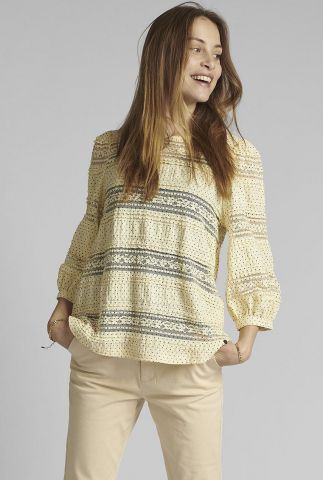 gele top met stippen dessin en kanten details nucapella blouse 700483