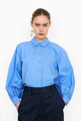blauwe blouse met ballonmouwen en kraag totema new shirt