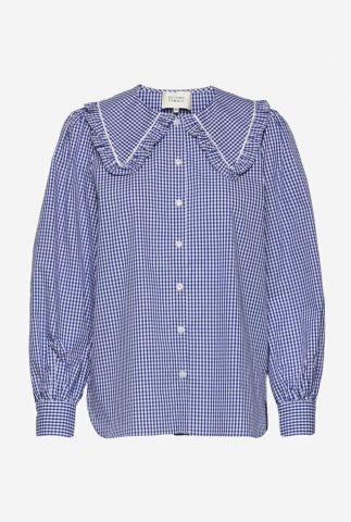 blauw wit geruite blouse met grote kraag toto shirt