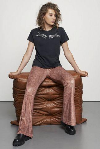 roestkleurige velvet flared broek met witte stippen tr bubble