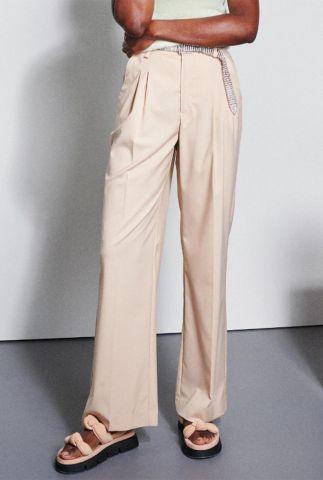 beige broek met hoge taille en wijde pijpen tr tailer