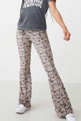 velvet flared broek met bloemen dessin tr terra