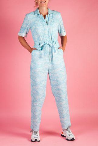 blauwe jumpsuit met witte golven print trapeze jumpsuit