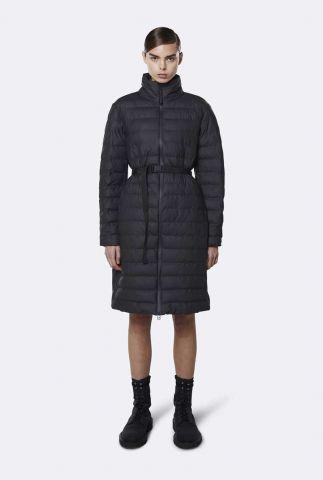 lange zwart gewatteerde jas met ceintuur trekker w coat 1529 black