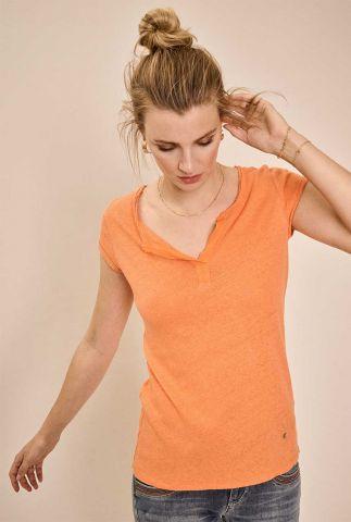 oranje linnenmix t-shirt met knoop detail troy tee ss 117440