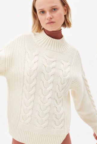 off-white trui met kabel dessin chiaraa recycled wool 30003347