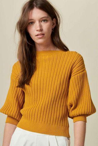 oker gele ribgebreide trui van katoen met knoopsluiting santorin