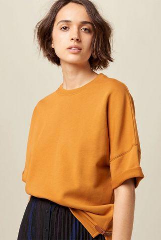 oranje katoenen sweater met korte mouw en gesp details summer days