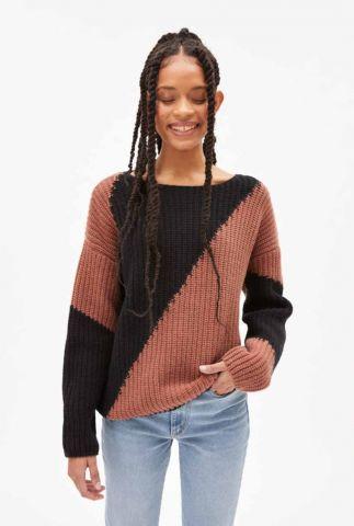oudroze trui met ingebreide vlakken saadie striped 30002408