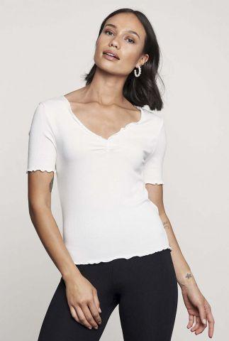 basis t-shirt met rib dessin en v-hals ts bella