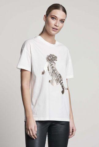 wit t-shirt met glanzende gouden tijger opdruk ts golden tiger