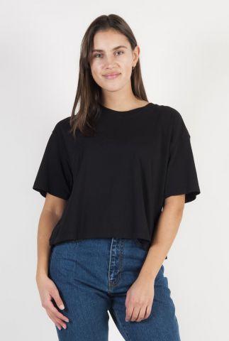 zwart t-shirt van biologisch katoen met zijsplit ts jaffi