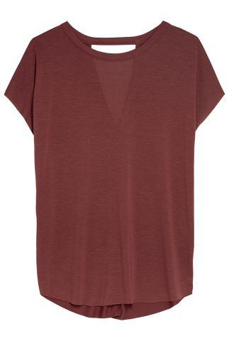 bordeaux rood t-shirt van een zachte modalmix ts mara