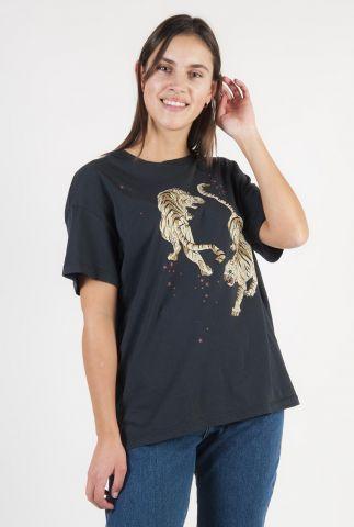 donker grijs bio katoenen t-shirt met tijgers opdruk ts tigre