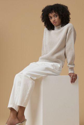 witte high waist katoenen broek met cropped lengte tsuru pants