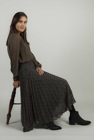 zwarte plissé rok met all-over print della skirt