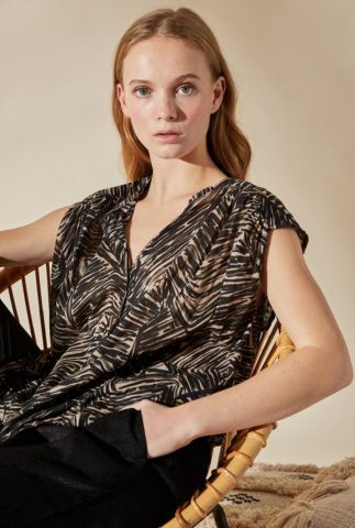 semi-transparante blouse met botanisch dessin udabi palme