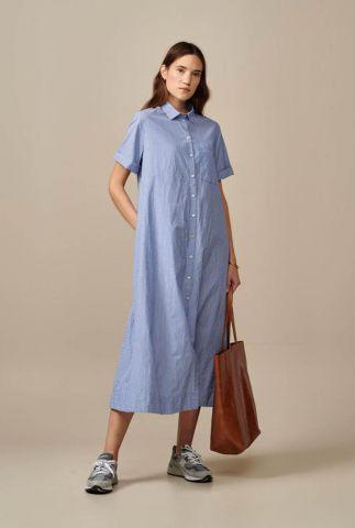 lange blauw gestreepte jurk met knoopsluiting valie s0774