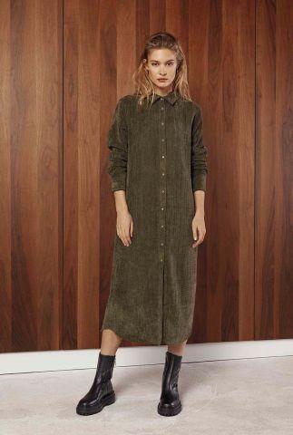 donker groene lange jurk met rib dessin vanderdise dress