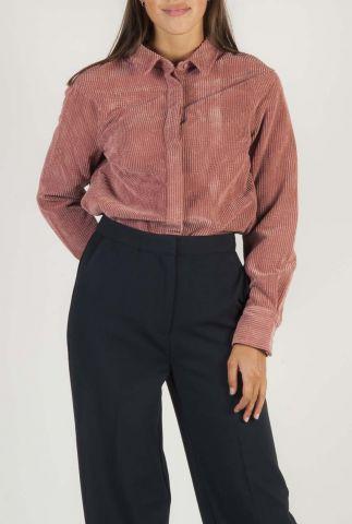 roze blouse met rib dessin vanderdise shirt