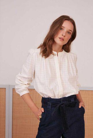 witte blouse met ingeweven ruit dessin vania