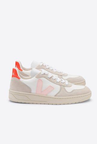 beige suède sneakers v-10 b mesh met lichtroze v vx012142