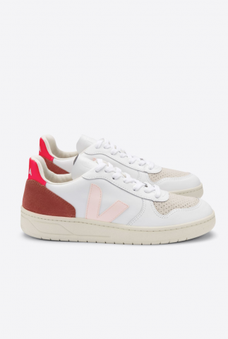 witte sneakers v-10 leather petale rose fluo VX022292