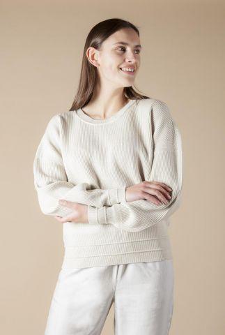 fijngebreide trui met ronde hals en ribdessin vena