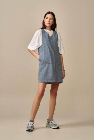 blauw wit gestreepte overgooier jurk met v-hals ventie d0361