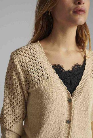 creme kleurig vest met ajour details nucelia cardigan 700398