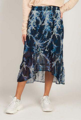 a-symmetrische rok met blauwe bloemenprint vicky skirt