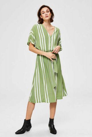 groene viscose midi jurk met streep dessin vienna short dress