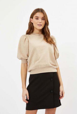 beige sweater met drie kwart pofmouwen villou 7167
