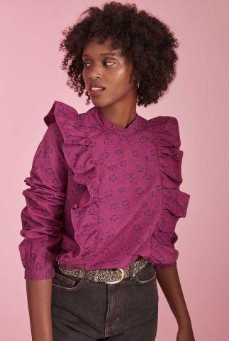 paarse blouse met bloemen dessin en ruches details voliane