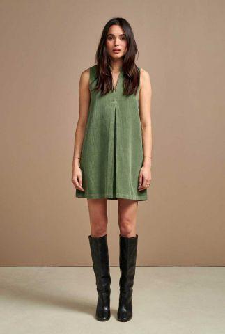 groene a-lijn jurk met plooi detail en rib dessin volst r0775