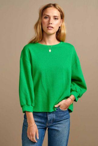 groene sweater met boothals vow t1435