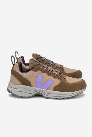 bruine sneakers met lila logo venturi ripstop vt0102613