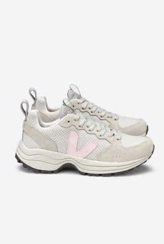 beige sneakers met licht roze v-detail venturi hexamesh vt012473