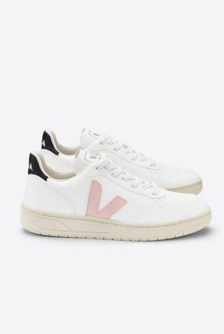 witte sneakers met licht roze v-detail v-10 cwl vx072558