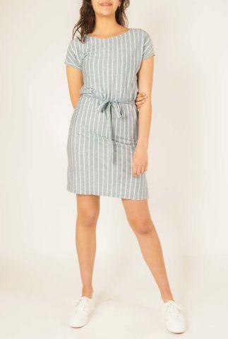 grijze jurk met witte verticale strepen  w-ds001